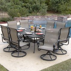 ample seating for large families and groups. - La Salle 8-Person Sling Patio Dining Set With Cast Aluminum Table.    Like that everyone can see everyone.