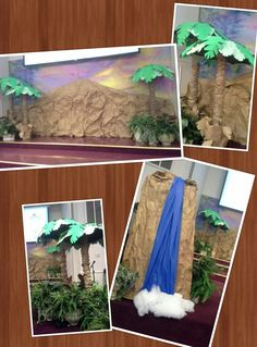 Wilderness Escape VBS Stage Decoration - sky palm trees waterfall mountain