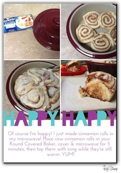 Cinnamon Rolls in the Round Baker.  Another rockin piece in our Stoneware Collection!  Holds up to 3 chicken breasts depending on size and it's great for dips and side dishes.    Check out our product line @ www.PamperedChef.biz/gmkarnes
