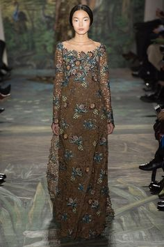Valentino | Spring 2014 Couture Collection | floral print, lace design, floor length, long sleeve, dress