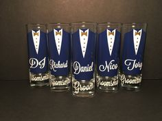 Personalized Shot Glasses with Tuxes Groom and Groomsmen Gifts For Wedding Party, Bridal Gifts, Wedding Favors, Wedding Invitations, Wedding Rings, Wedding Ideas, Wedding Shot Glasses, Bride And Groom Glasses, Groomsmen Proposal