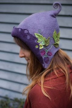 Felt Blackberry faerie hood  www.lalabugdesigns.etsy.com. Whimsical, my oldest kid would love it.