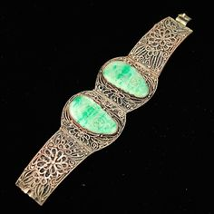Antique Chinese Carved Jade Silvered Filigree Bracelet