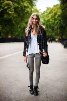 I'm diggin' the skinny jeans + combat boots + leather jacket.
