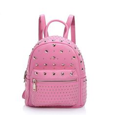88.74$  Buy now - http://alibuq.worldwells.pw/go.php?t=32749809756 - Fashion Rivets Backpack Leather 2016 New Bag Genuine Leather Backpacks For Teenage Girls