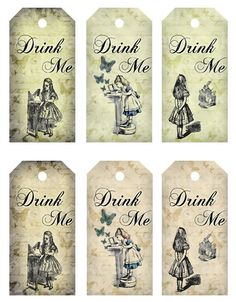 DRINK ME 2x4 in vintage alice in wonderland tags digital download print collage. $4.00, via Etsy.
