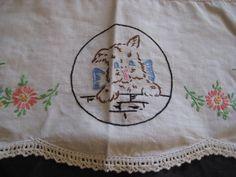 Dog doily, angel scottish dog doily, embroidered doily, scottie dog, shabby chic decor, hand made doily, fabric doily