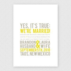 We Eloped | Modern Photo Wedding Announcement Postcard by Young ...