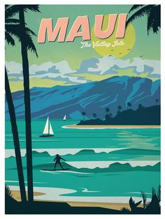 Vintage Poster Image of Vintage Maui Poster - Size - Digital Print on 80 lb cover matte white *SHIPPING DETAILS* Items will be mailed out in tubes within 3 days after order. Kunst Poster, Poster Art, Poster Prints, Art Prints, Hawaii Vintage, Vintage Hawaiian, Posters Decor, Illustrations Vintage, Hawaiian Art