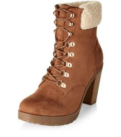 Tan Faux Shearling Cuff Lace Up Block Heel Boots