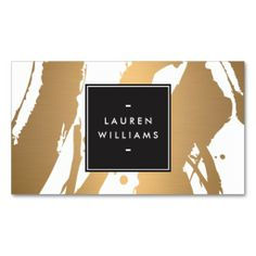 Elegant and Abstract Copper Brushstrokes Business Card Template - fully customizable