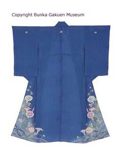Kimono de cérémonie bleu, début 20ème. Motifs de volubilis, graminées et prés…