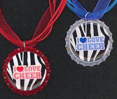 I LOVE CHEER Ribbon Bottle Caps Ribbon Cord Charm Pendant Necklace with Jewelry Box - altered art - gift idea. $4.95, via Etsy.