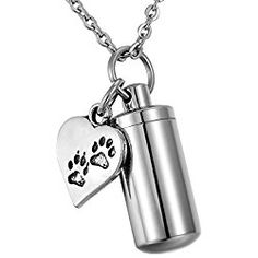 HooAMI Pet Dog Paw Heart Charm & Cylinder Memorial Urn Necklace Stainless Steel Cremation Jewelry
