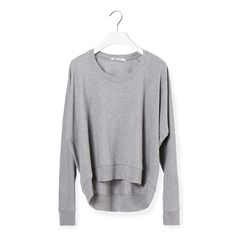 T by ALEXANDER WANG T ALEXANDER WANG Gray Sweater (280 CAD) ❤ liked on Polyvore featuring tops, sweaters, crewneck sweater, oversized tops, gray top, gray oversized sweater and long sleeve crew neck sweater