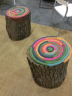 simple knitted rounds to use as cushion seats  so awesome around a campfire