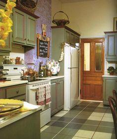 milk painted kitchen cabinets -