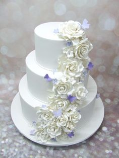 Purple wedding cake. This 3 tier marble mud cake has cascading handmade roses, blossoms and butterflies.