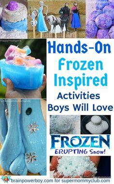 9 Frozen Inspired Activities for Boys Frozen Activities, Sensory Activities, Craft Activities For Kids, Winter Activities, Crafts For Kids, Frozen Birthday Activities, Frozen Birthday Party Games, Learning Activities, Frozen Theme