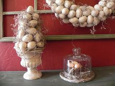 Egg Topiary- use spray paint to change cheap dollar store eggs into something classy