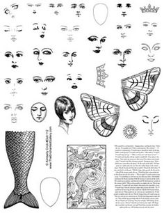 Art doll altered paper dolls collage mermaid tail face rubber stamps. Want these!!