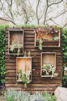 Santa Monica Garden Wedding plants in boxes! // photo by Heidi Ryder The post Santa Monica Garden Wedding appeared first on Garden Diy. Wedding Plants, Garden Wedding, Wedding Decor, Pallet Wedding, Party Wedding, Wedding Crates, Wedding Backdrops, Wedding Ideas, Wedding Rustic
