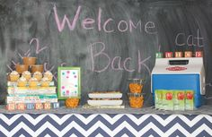 Back to School Party: juice boxes, ants on a log, cupcakes, and crafty fun. I want to throw one and I'm not even a kid!