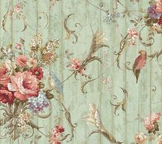Blue Book Parrots Bird Rose French Cottage Wallpaper HA1326 – D. Marie Interiors