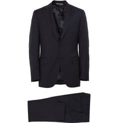 Canali Navy Slim-Fit Wool Travel Suit | MR PORTER