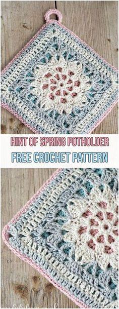 Hint of Spring Potholder Free Crochet Pattern #crochet #spring #potholder #yarn #hook #pink #freepattern #grannysquare