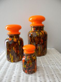 1960's Drip Pottery Canister Set of 3 Browns by ThreeTangerines