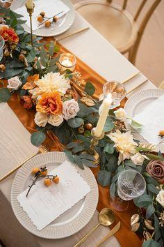 Wedding Table Decorations, Wedding Table Settings, Fall Wedding Table Decor, Wedding Table Garland, Orange Wedding Decor, Low Wedding Centerpieces, Wedding Garlands, Orange Wedding Colors, Wedding Reception Tables