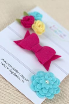 Baby Shower Gift Set Idea  Yellow Pink Aqua Felt Flower Bow Headband or by LovebugLullabies