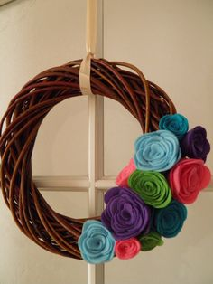 Spring Easter wreath with felt flowers by simonzsa on Etsy, $24.00