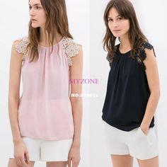 2014 New Women Ladies' Casual Lace Patchwork Transparent Chiffon Shirt Blouse European Style Woman Work Shirts Tops B16 SV004922 US $5.90