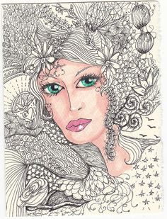 eve | Flickr - Photo Sharing! Tangle Doodle, Doodle Art, Flowers In Hair, Flower Hair, Doodle Designs, Adult Coloring Pages, Drawing People, Female Art, Tangled