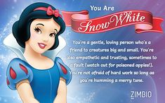 I took Zimbio's Disney princesses personality quiz and I'm Snow White! Who are you?