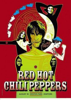 Original concert poster for the Red Hot Chili Peppers UK tour in 2001. 17.5 x 24 on card stock. Signed and numbered out of 400 by the artist Craig Phillips.
