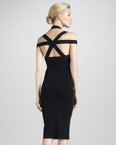 Michael Kors Fitted Cross-Back Dress - Neiman Marcus