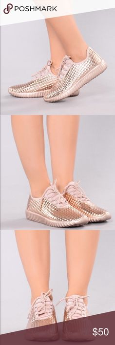 Women's Rose Gold Metallic Sneakers (NEW) PRODUCT DETAILS:  * Trainer Sneaker * Metallic  * Faux Leather Upper Cape Robbin Shoes Sneakers