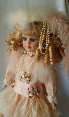 Very Fancy Enchanted Porcelain Doll ~ Haunted House Rescue ~ French Fashion Ostrich Feathers ~ Active Spirit Positive Energy by FugitiveKatCreations on Etsy