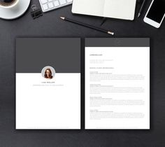 Resume / Curriculum Vitae / Design / Ideas / Inspiration / Clean / Minimalist / Template / Two Pages / Cover / minimal / B&W