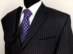 MICHAEL KORS Mens 44L Black White Pinstripe 3-Button Side Vent Wool Flannel Suit #MichaelKors #ThreeButton $124.99