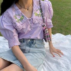 Purple Outfits, Casual Outfits, Cute Outfits, Fashion Outfits, Aesthetic Fashion, Aesthetic Clothes, Osho, Vintage Cotton, Vintage Lace