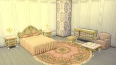 leo-sims:  VIOLA BEDROOM   This set is for the lovely Deb. SET INCLUDES Bed Dresser End Table Table Light Armchair Pouf Coffee Table Pink Wallpaper Rug Bed Blanket works perfect. Thanks to Max for the tip :) Converted from sims 2 Mesh and textures by Vita- Sims   DOWNLOAD