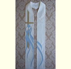 White Clergy Stole for Baptism in Natural Silk Dupioni with Pouring Water  -- Will ship after August 15