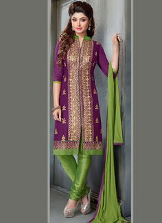 Buy Purple Blended Cotton Churidar Suit online from the wide collection of Salwar Kameez.  This Purple  colored Salwar Kameez in Blended Cotton  fabric goes well with any occasion. Shop online Designer Salwar Kameez from cbazaar at the lowest price.