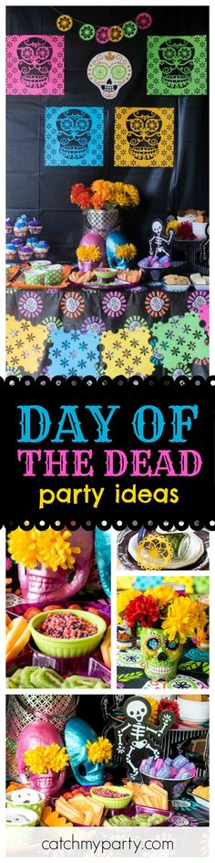 Wow!! This Halloween Day of the Dead party is so much fun!The vibrant colored decorations bring this party to life!! See more party ideas and share yours at CatchMyParty.com