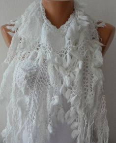 Items similar to White Ruffle Lace Knitted Scarf,Winter Scarf,Christmas Gift Shawl Scarf Cowl Scarf Gift Ideas For Her Women Fashion Accessories on Etsy Scarf Ideas, Cozy Scarf, Ruffle Scarf, Cowls, Lace Knitting, Simple Outfits, Scarf Styles, Pattern Fashion, Scarfs