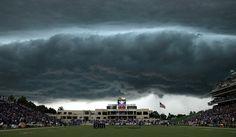 thunderstorm approaches Bill Snyder Family Stadium during the first quarter. Manhattan Kansas Sept. 25, 2010
